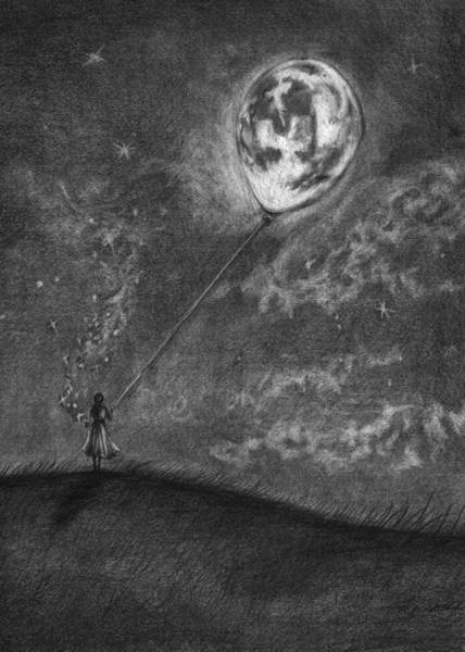 Night Time Drawing - Moon On A String by J Ferwerda