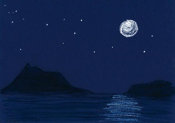 Moon On The Ocean Art Print