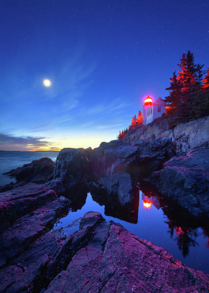 Wall Art - Photograph - Moon Over Bass Harbor by Michael Blanchette