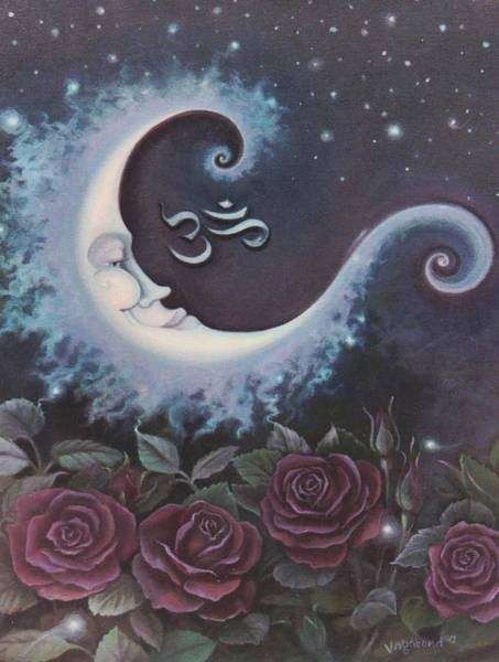 Painting - Moon Over Bed Of Roses by Suzn Smith