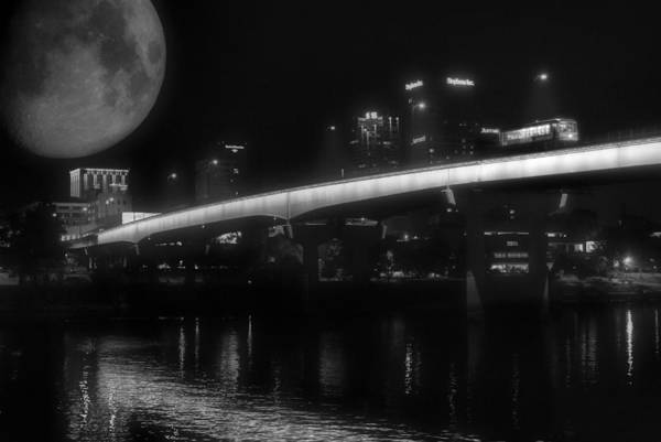 Photograph - Moon Over Downtown Little Rock - Black And White - Arkansas by Jason Politte