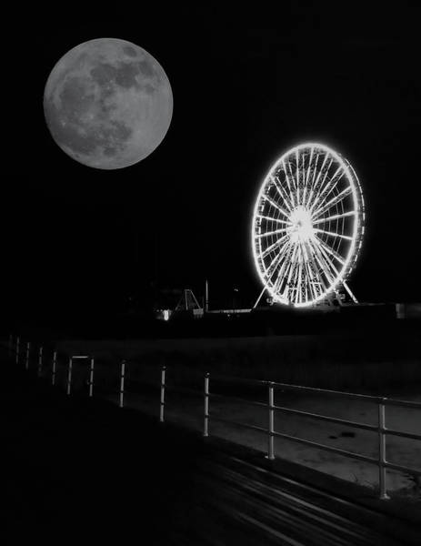 Digital Art - Moon Over Ferris Wheel by Jason Denis