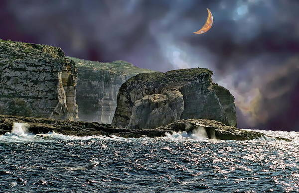 Photograph - Moon Over Fungus Rock Malta by Anthony Dezenzio