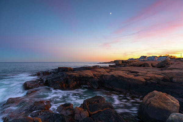Photograph - Moon Over Gloucester Sunset by Brian Hale