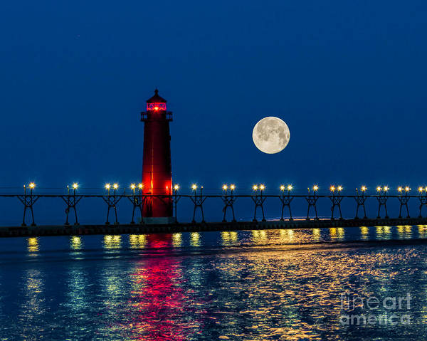 Moon Over Grand Haven Art Print