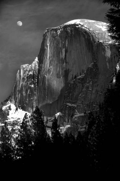 Half Dome Wall Art - Photograph - Moon Over Half Dome by Jim Dohms