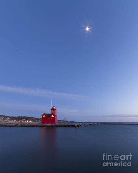 Holland Michigan Wall Art - Photograph - Moon Over Holland Lighthouse And Channel by Twenty Two North Photography
