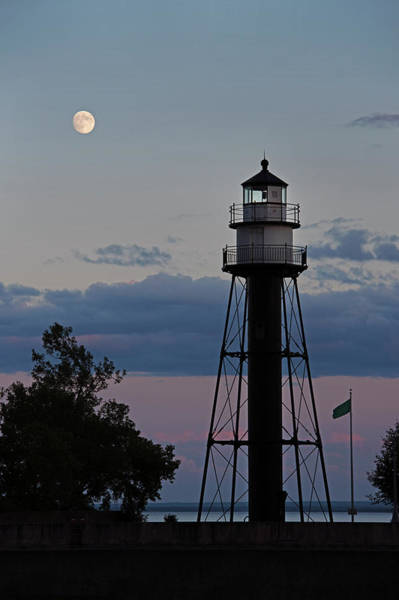 Photograph - Moon Over Inner Lighthouse by David Lunde