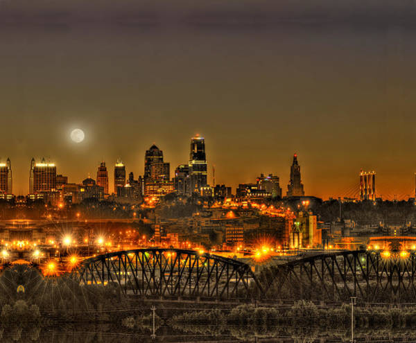 Mo Wall Art - Photograph - Moon Over Kansas City Mo by Don Wolf