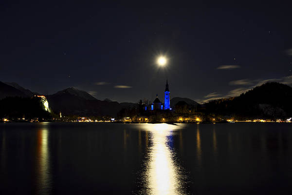 Photograph - Moon Over Lake Bled by Ivan Slosar