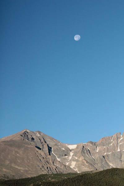 Fourteener Photograph - Moon Over Longs Peak by Molly Nolden