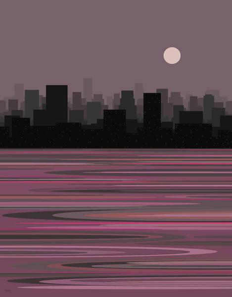 Digital Art - Moon Over Manhattan by Val Arie