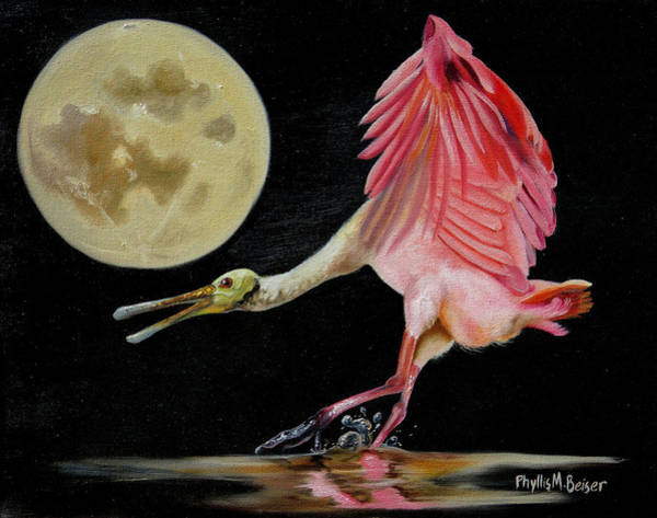 Wall Art - Painting - Moon Over Mississippi A Roseate Spoonbills Perspective by Phyllis Beiser