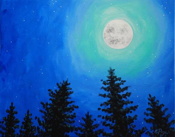 Painting - Moon Over Pines by Emily Page