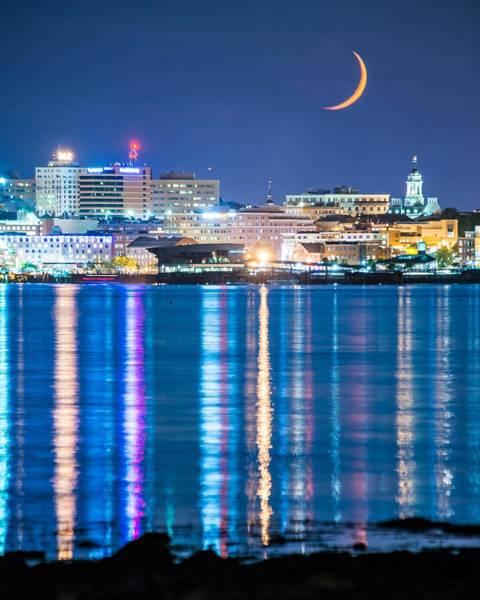 Wall Art - Photograph - Moon Over Portland by Tim Sullivan