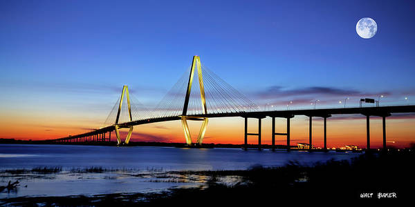 Pleasant Photograph - Moon Over Ravenel by Walt  Baker