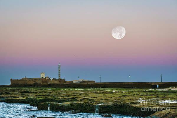Photograph - Moon Over San Sebastian Castle Cadiz Spain by Pablo Avanzini