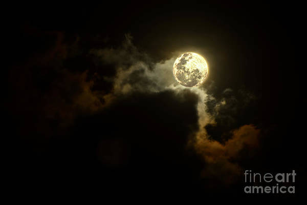 Wall Art - Photograph - Moon Over Sunset Clouds By Kaye Menner by Kaye Menner