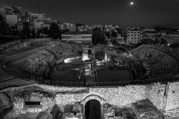 Photograph - Moon Over Tarragona Spain Bw by Joan Carroll