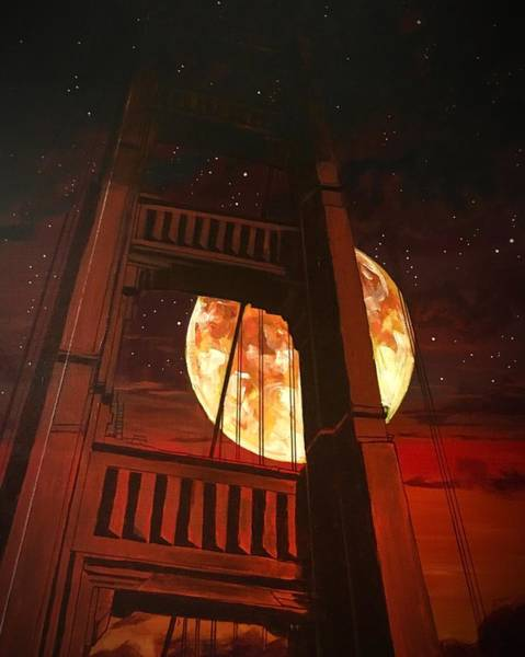 Painting - Moon Over The Bridge  by Joel Tesch