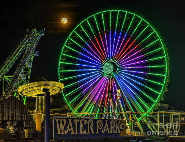 Moon Over The Ferris Wheel Art Print