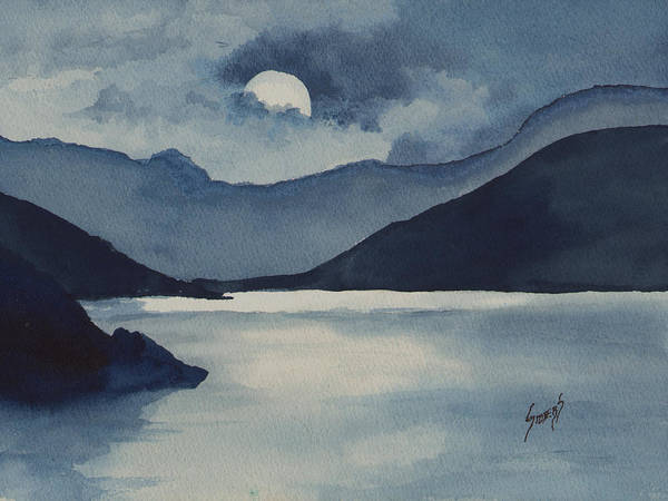 Painting - Moon Over The Water by Sam Sidders