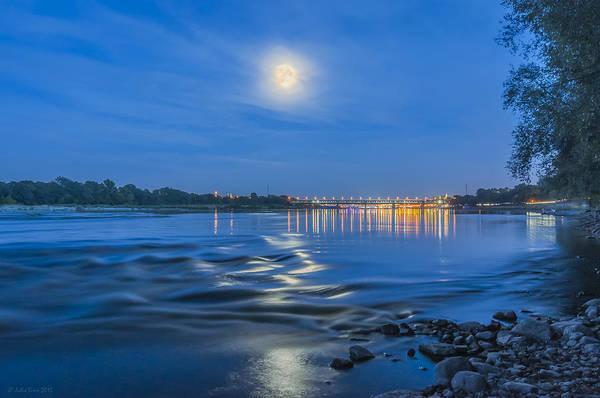Photograph - Moon Over Vistula River In Warsaw by Julis Simo