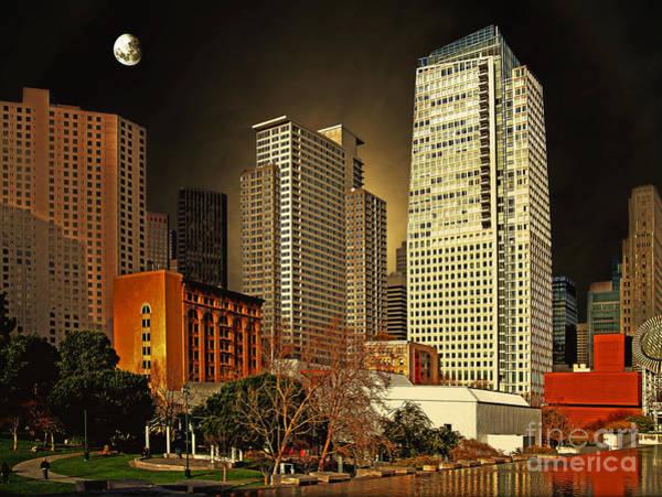 Photograph - Moon Over Yerba Buena Gardens San Francisco by Wingsdomain Art and Photography