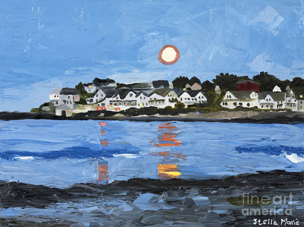 Painting - Moon Over York Beach by Stella Sherman