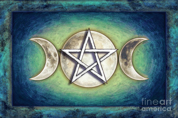 Full Moon Mixed Media - Moon Pentagram - Tripple Moon 2 by Dirk Czarnota