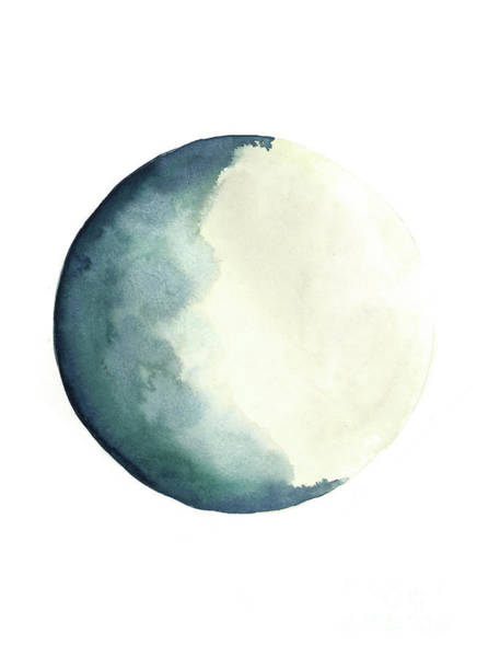 System Painting - Moon Phases Watercolour Painting, Blue Vanilla Beige Crescent Moon Art, Luna Astrology Print by Joanna Szmerdt