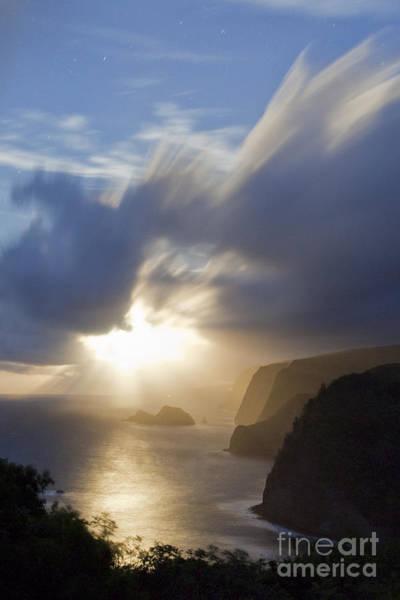 Photograph - Moon Rays Over North Kohala Cliffs by Charmian Vistaunet