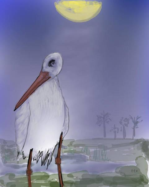 Art Print featuring the digital art Moon Rise Becomes A Stork by Teresa Epps