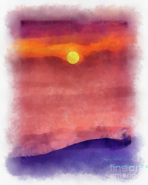 Painting - Moon Rise In Aquarelle by Charles Muhle