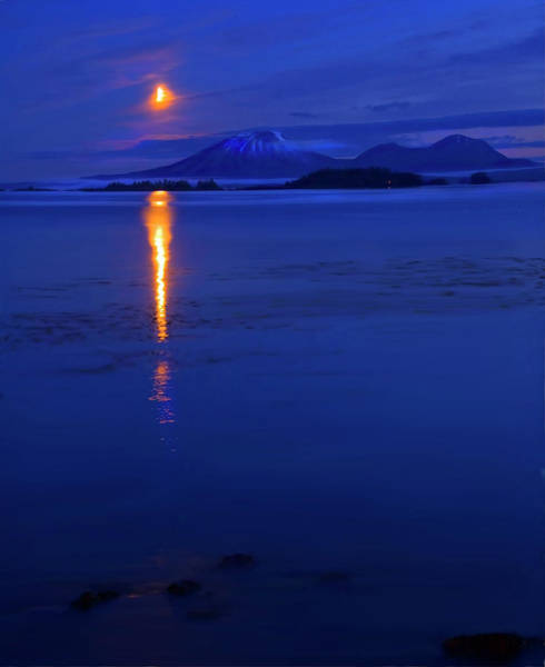 Wall Art - Photograph - Moon Rise Over Mt. Edgecumbe by Mike  Dawson