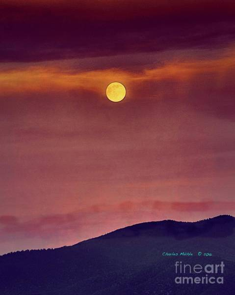 Painting - Moon Rise With Texture  by Charles Muhle