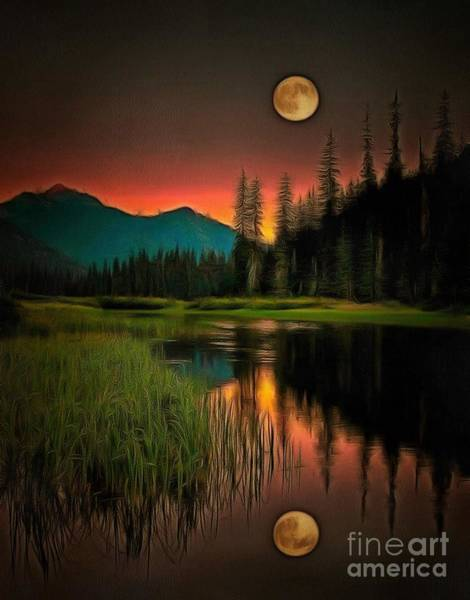 Painting - Moon Rises Or Sets In Ambiance by Catherine Lott