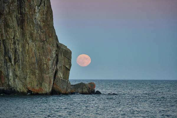 Wall Art - Photograph - Moon Rising Behind Cliffs by Paul Freidlund