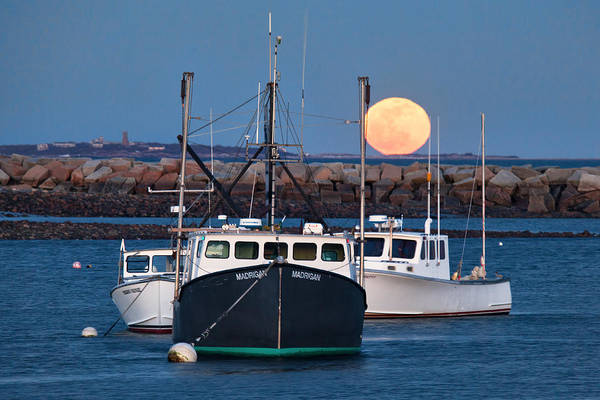 Wall Art - Photograph - Moon Rising Over Rye Harbor by Eric Gendron