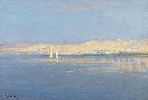 Nile Painting - Moon Rising Over The Nile, 1900 by William James