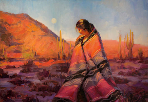 American Indians Painting - Moon Rising by Steve Henderson