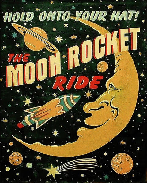 Wall Art - Painting - Moon Rocket Ride by Long Shot