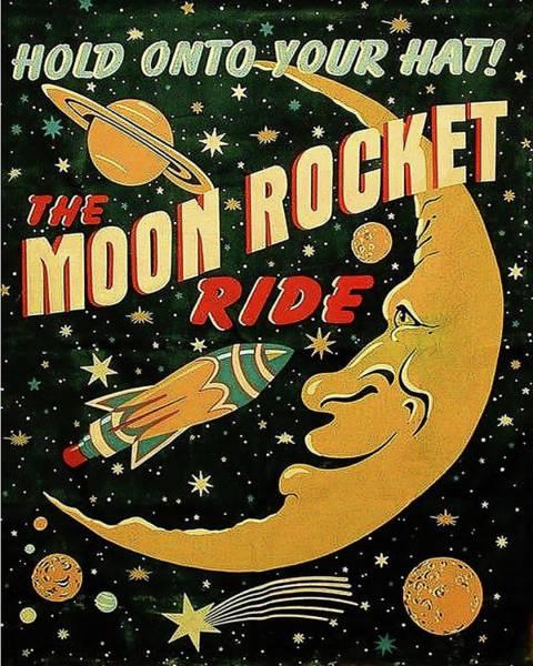 Rocket Painting - Moon Rocket Ride by Long Shot