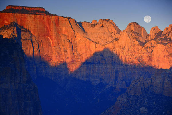 Photograph - Moon Sets Over Zion National Park by Raymond Salani III