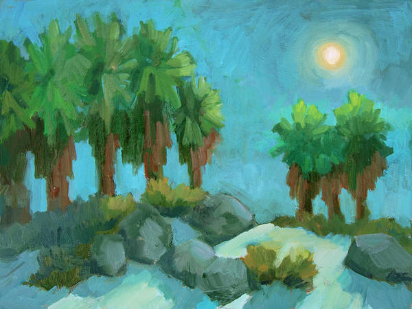 Wall Art - Painting - Moon Shadows Indian Canyon by Diane McClary