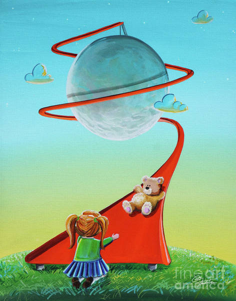 Red Moon Painting - Moon Slide by Cindy Thornton