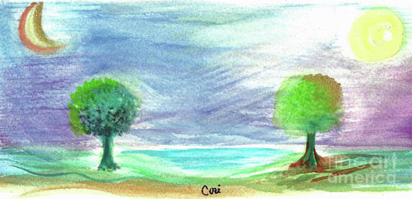 Mixed Media - Moon Sun Trees by Corinne Carroll
