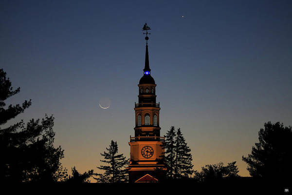 Photograph - Moon, Venus, And Miller Tower by John Meader