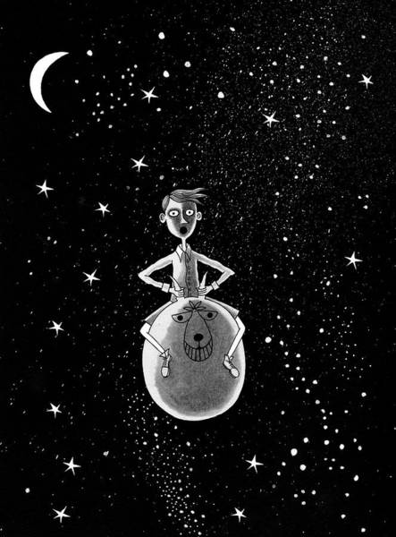 Ink Pen Drawing - Moonage Daydream  by Andrew Hitchen