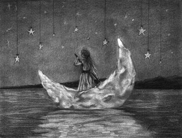 Night Time Drawing - Moonboat by J Ferwerda